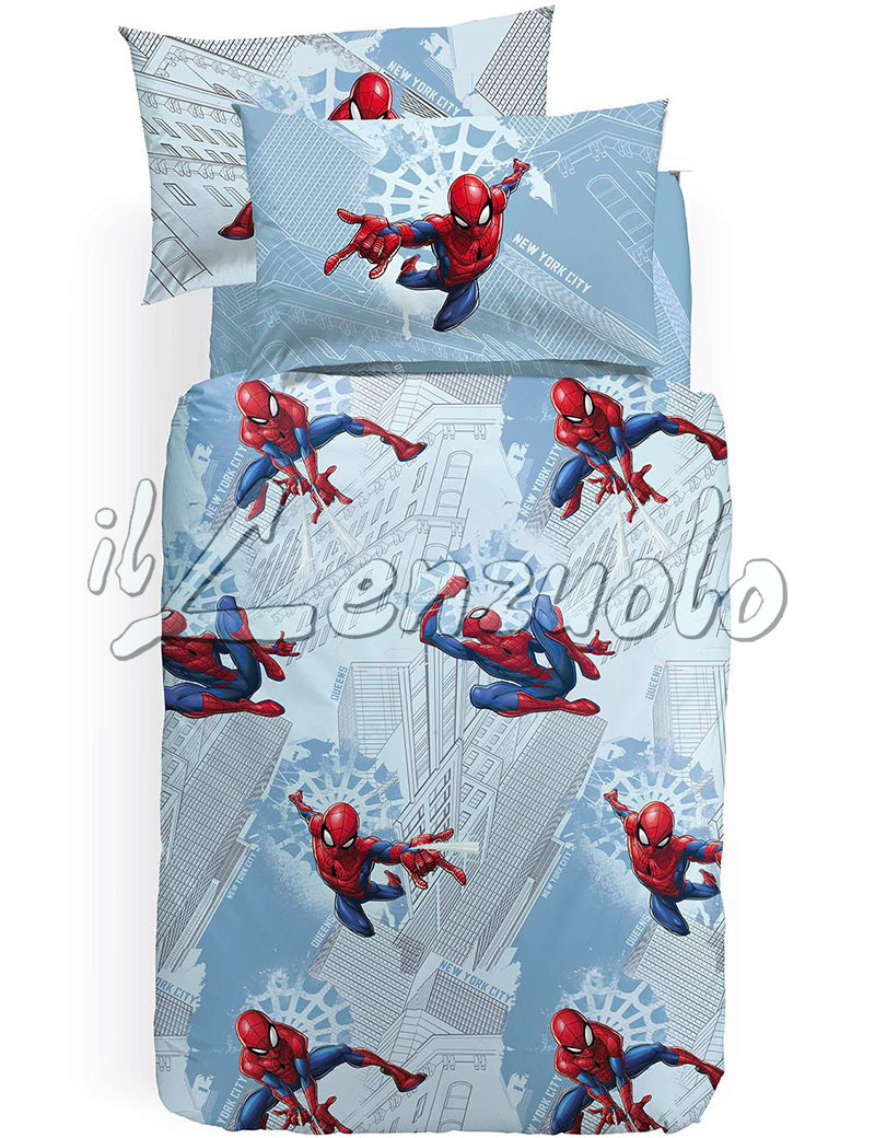 Completo copripiumino letto singolo marvel spiderman manhattan - Letto di spiderman ...