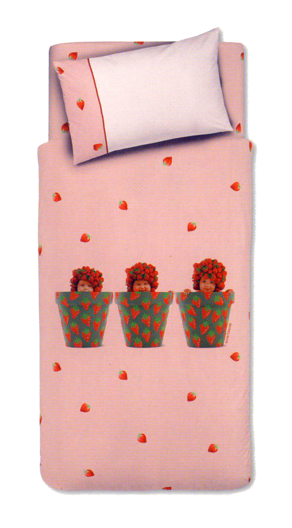 Anna Geddes Lenzuola Culla.Completo Lenzuola Letto Lettino Anne Geddes Strawberry Pots