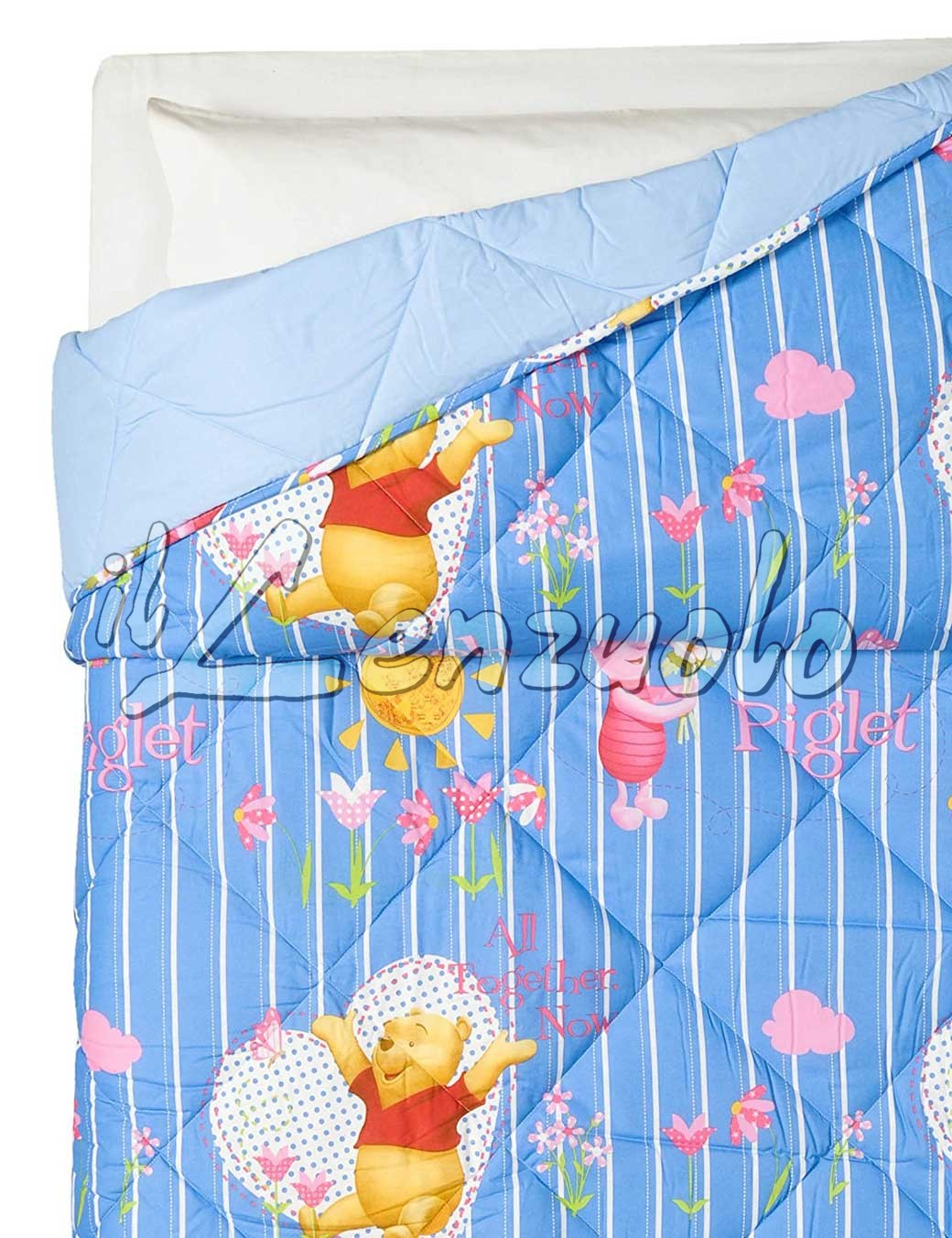 Lenzuola Lettino Winnie The Pooh.Trapunta Disney In Cotone Letto Singolo Winnie The Pooh All Together